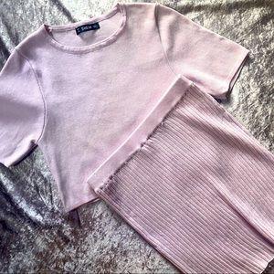 Pastel pink knit coord ribbed skirt set L
